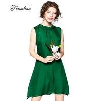 Foamlina Women's Silk Dress Green Summer Dresses Halter Neck Sleeveless Wide Waist A line Casual Party Beach Dress Vestidos