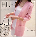 Frete Grátis 2015 Primavera e No Outono Top Cardigan Outerwear Médio-longo Camisola das Mulheres