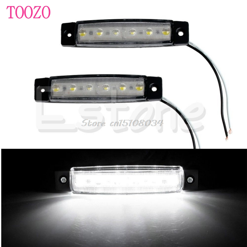 2x12V 6 LED Bus Truck Trailer Lorry Side Markers Indicator Light Side Lamp White S08 Wholesale&DropShip