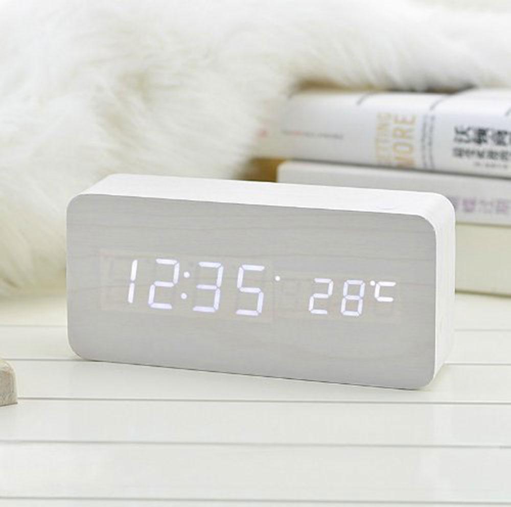 Alarm Unique Clocks Wood LED Light