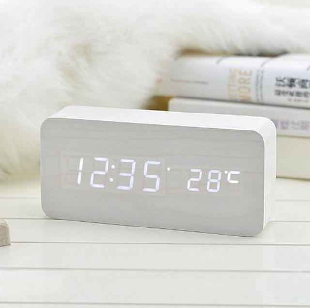 Alarm Unique Clocks Wood LED Light