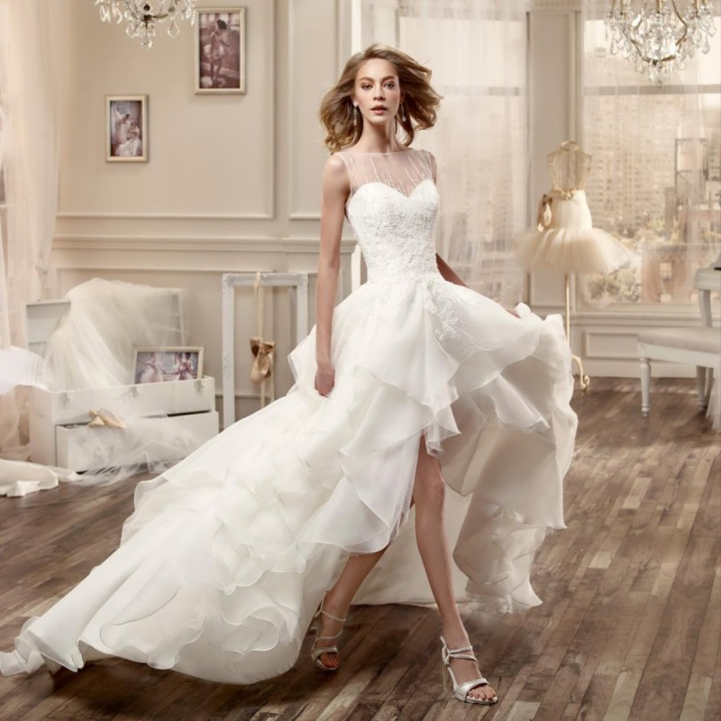 New Design High Low Asymmetrical Wedding Dress Sheer Neck Sleeveless Backless Bridal Gown Gorgeous Beaded Lace In Dresses From Weddings