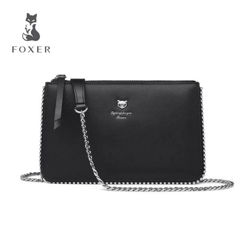 2018 New FOXER brand women leather bag high quality fashion chains women shoulder messenger bag cowhide black Envelope bag new brand genuine leather women bag fashion retro stitching serpentine quality women shoulder messenger cowhide tassel small bag