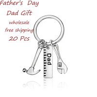 20PCS Lots Daddy S Jewelry Gifts Father S Day Present Hammer Ruler Wrench Dad Keychain Father