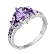 Measurement 6/7/eight/9/10 Scorching Promoting 2015 Jewellery 925 Silver Crammed Spherical Purple Amethyst Girls Marriage ceremony Engagement Zircon Rings RS0004