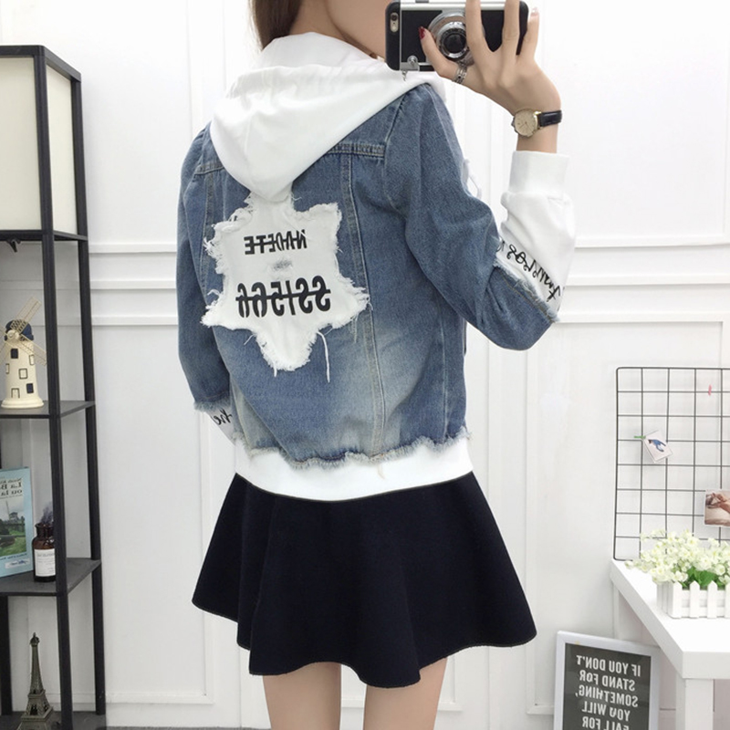New Autumn Casual Hooded Short Denim Jacket Women Fashion Splicing Patch Coat Plus size Pockets Loose Jackets Jeans Coat Female 39
