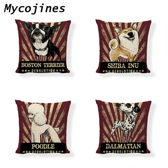 Dog Living Room Cushion Cover Linen Material One Side Printed Throw Pillowcase Office Seat Car Home Sofa Bed Decor Accessories