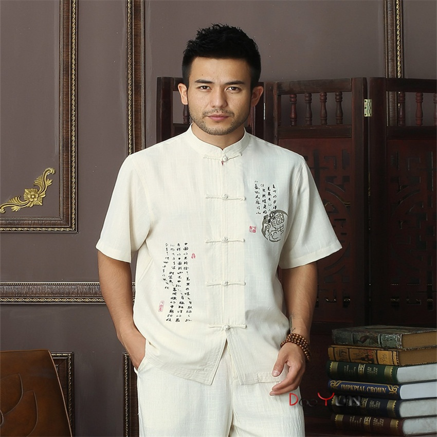 Fashion Trends Chinese Mens Cotton Mandarin Collar Kung Fu Shirt Top Novelty print Tang Shi Tang Suit Size S M L XL XXL XXXL