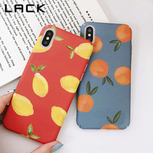 LACK Cartoon Fruits Phone Case For iphone X Case For iphone 6 6S 7 8 Plus Hard PC Back Cover Retro Orange Lemon Painted Cases(China)