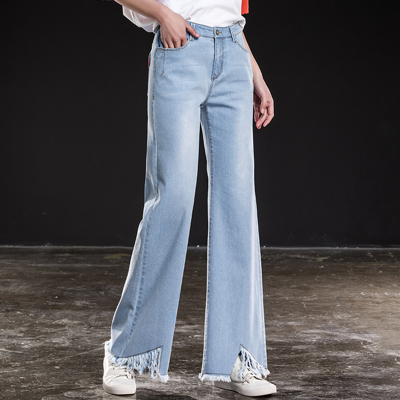Shangege women sky blue wide leg jeans for spring summer lady full length loose denim free shipping
