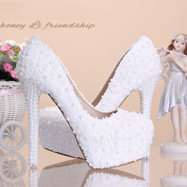 Lace Platform Pearls rhinestone Wedding Shoes