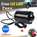2pcs Black Super Bright 30W U2 LED Spotlight Headlight Driving Fog Head Light Spot Night Safety Lamp For All Motorcycle + Switch