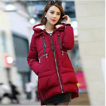 Europe 2016 fashion plus size 3XL cotton jacket high quality women winter warm hooded loose long