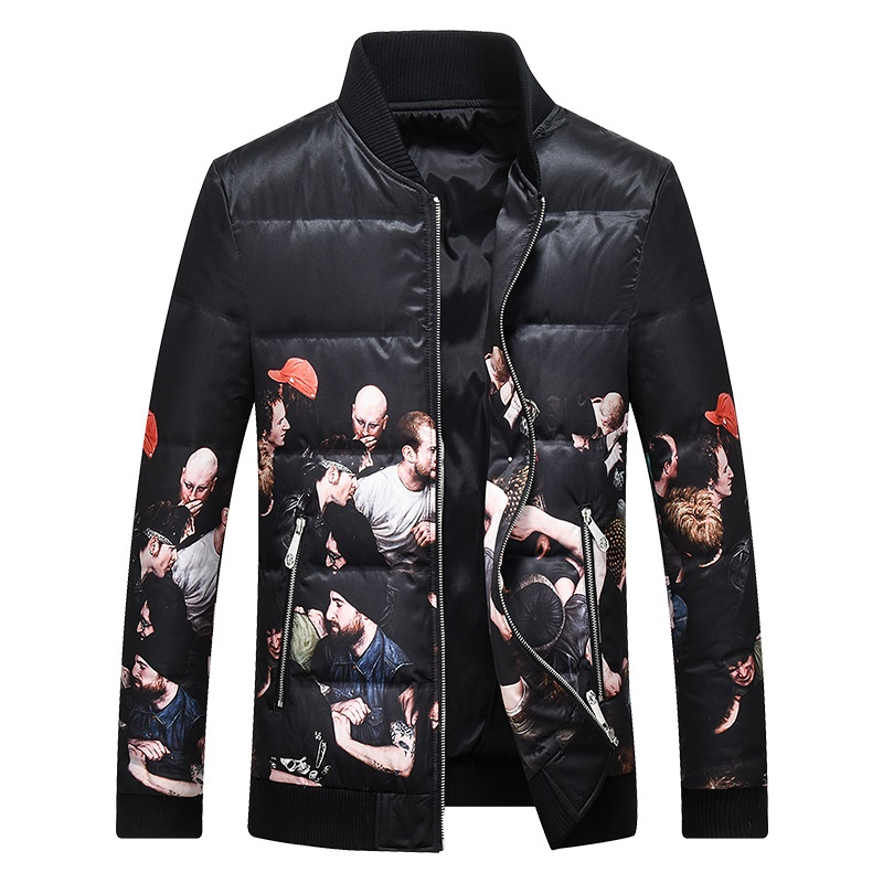 Men's Duck   Down   Jacket Print Warm   Down     Coat   for Men Male
