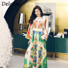 Delocah Women Spring Summer Dress Runway Fashion Designer Long Sleeve Gorgeous Lace Hollow Out Vintage Printed A-Line