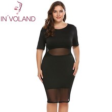 IN'VOLAND Oversized Wome Club Dress XL-5XL Sexy Sheer Mesh Patchwork Bodycon Pencil Club Dresses Feminino Vestidos Plus Size(China)