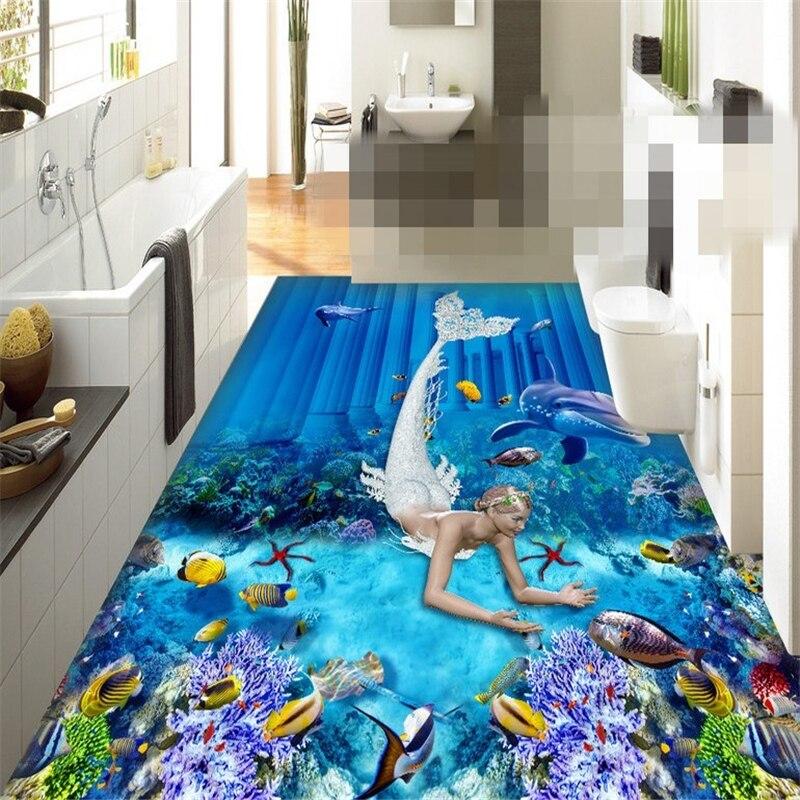 beibehang papel de parede Custom Photo Wallpaper Painting Wall Sticker Mermaid Myth Space Underwater World 3D Floor Painting  beibehang large custom wallpaper hd dream forest giraffe elephant elk 3d landscape painting papel de parede do desktop