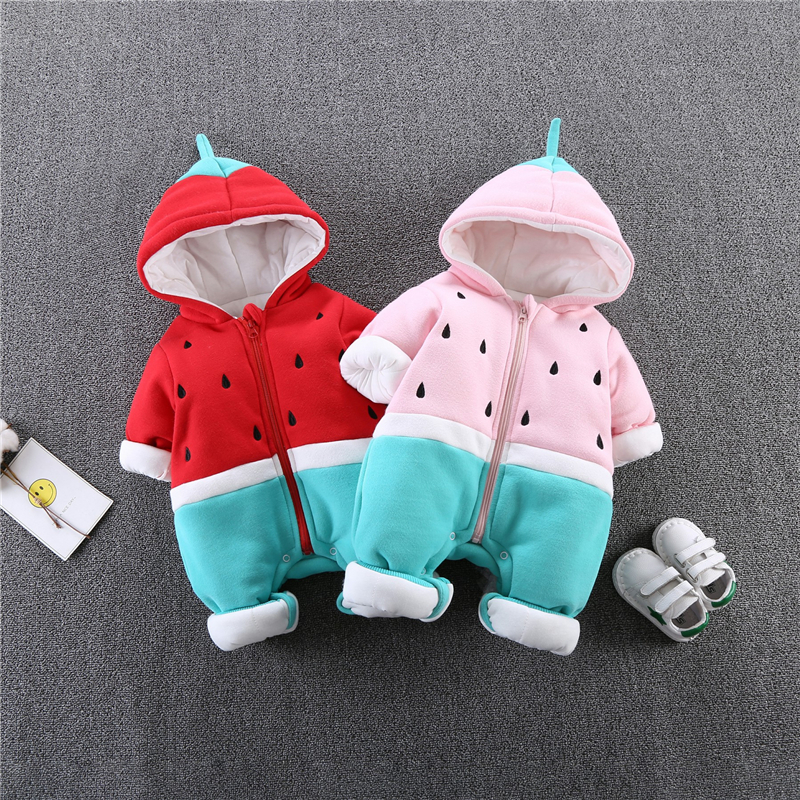 Baby Winter   Rompers   2018 Korean Style Cartoon Long Sleeve Hooded Boy And Girl Plus Thick Velvet Overalls Kids Warm Rompes