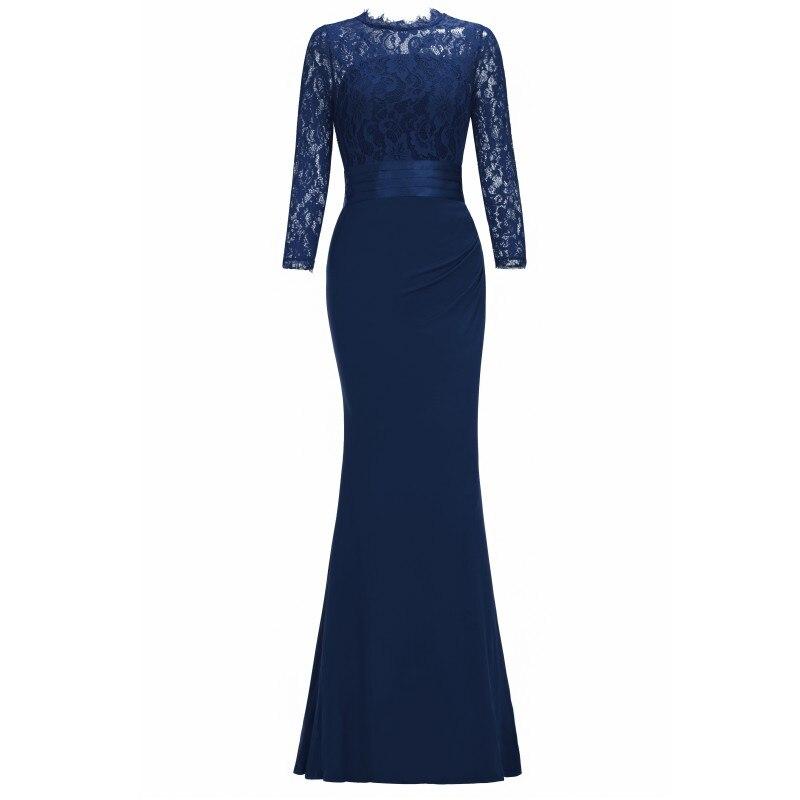 Элегантное длинное вечернее платье русалки с круглым вырезом и рукавом три четверти, вечернее платье, robe de soiree - Цвет: Navy Blue