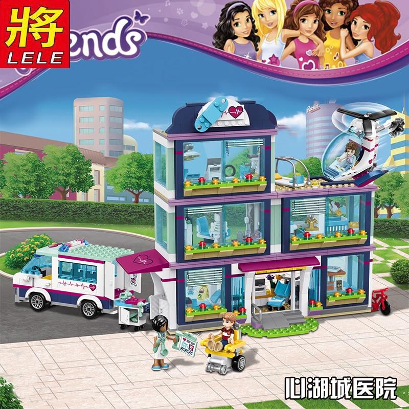 LELE 932 pièces Heartlake Ville Parc Amour L'hôpital Fille Amis Building Block Compatible Legoed Amis jouet de construction, l'éducation jouets