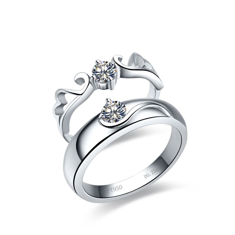 Solitaire White Gold Rings For Couple Engagement His And Her Rings For  Lovers 05ct Sona