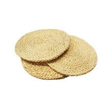 3Pcs Round Corn Straw Braided Weave Woven Placemat Handmade Tablemat Kitchen Dinner Mat