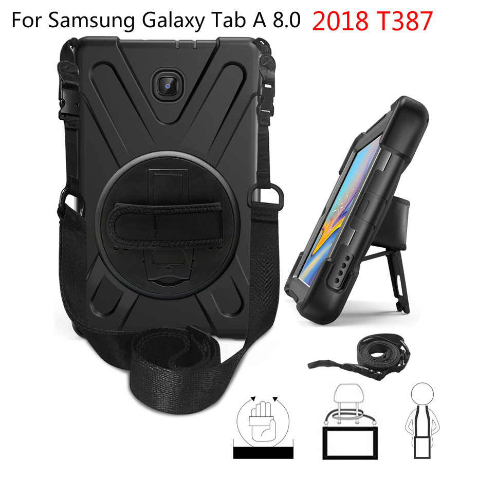 Shockproof Kids Case For Samsung Galaxy Tab A 8.0 2018 T387 Full Body Protective Cover For SM-T387V Funda With Handle Straps+Pen