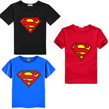 2016 Cartoon Printing Superman Short Sleeve T-Shirts Fashion Cotton Children Kids Baby Girls Boys T Shirts Tops Child Clothing(China)