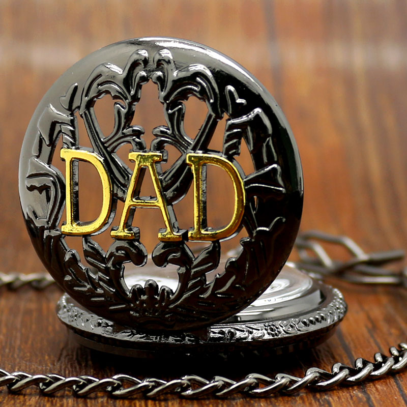 Retro Father's Day Gift Black Quartz DAD Pocket Watch Steampunk Hour Gift for Dad grandparent maternal grandfather все цены