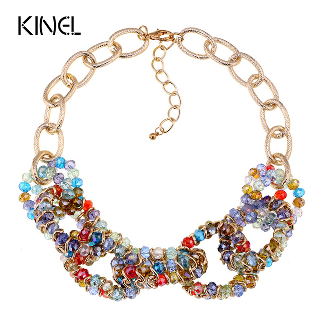 2016 New Vintage Fashion Necklaces For Women Bohemia Crystal Accessories Short Statement Necklace