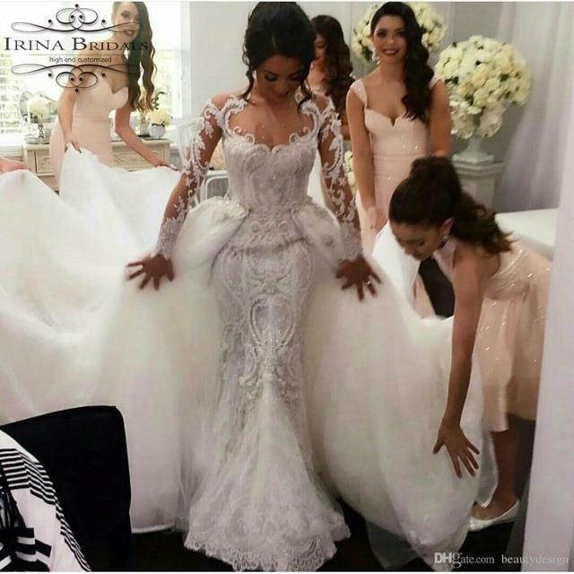 de manga larga vestido de novia de encaje con aplicaciones de perlas