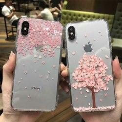 Caso de relevo 3d para iphone xr 7 mais 8 8 plus x flor silicone capa para iphone 6s 6 plus capa macia capinha ipone ip coque