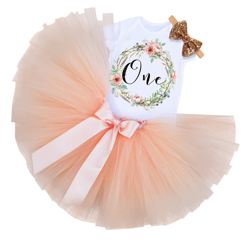 1 Year Little Girl 1st Birthday Party Dress Baby Tutu Cake Smash Outfits First Christmas Gift Toddler Girls Kids Baptism Clothes