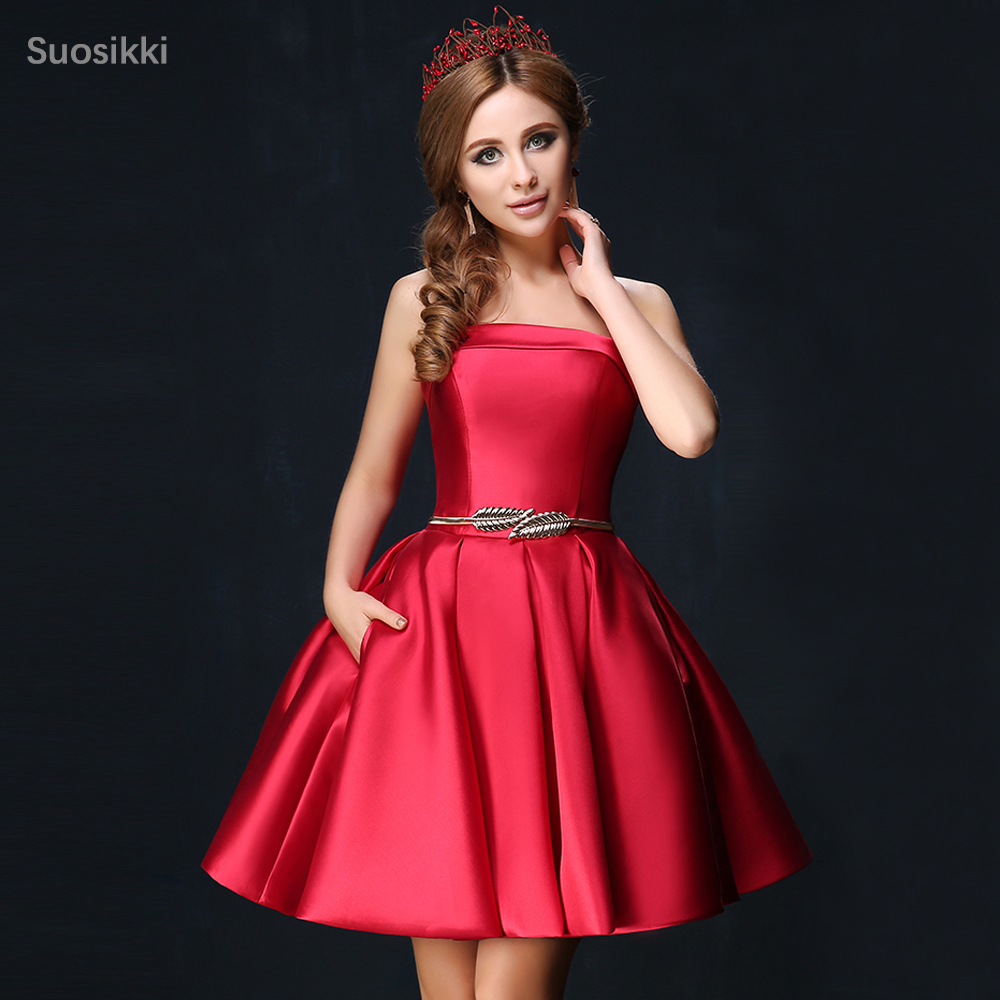 Closeout DealsSuosikki Ball-Gown Homecoming-Dresses Vestido-De-Festa Mini Strapless Longo