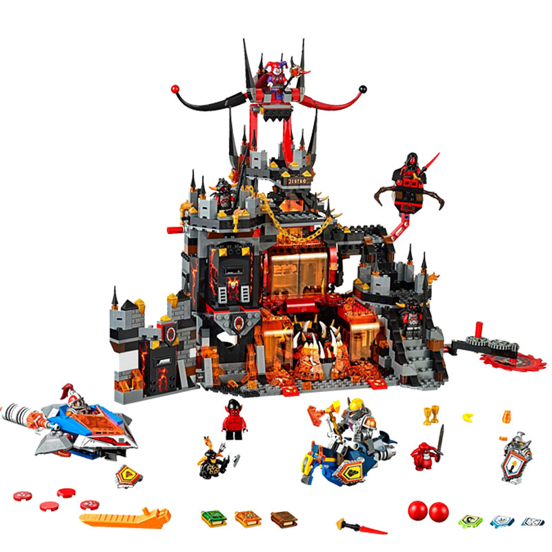Model building kits 14019 Nexoe Knights Volcano Lair castle compatible with lego city 3D blocks Educational toys for Kids gift