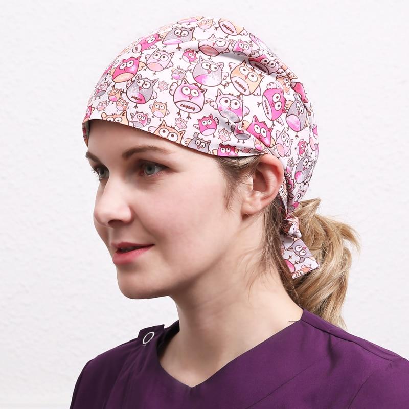 Owl Pattern Women's Surgical Cap Nurse Caps Medical Scrub Hat Polyester/Cotton Adjustable Hospital Work Hats For Doctor Nurse