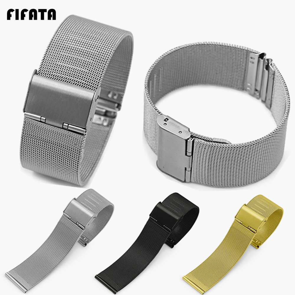 FIFATA Stainless Steel Smart Watch Band Metal Strap For Xiaomi Huami Amazfit Bip/Stratos For Ftbit Versa 23 22 20 18mm Universal