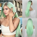 New Arrive Kylie Jenner Christmas mint green ombre wig Black long straight synthetic lace front wig heat resistant fiber wig