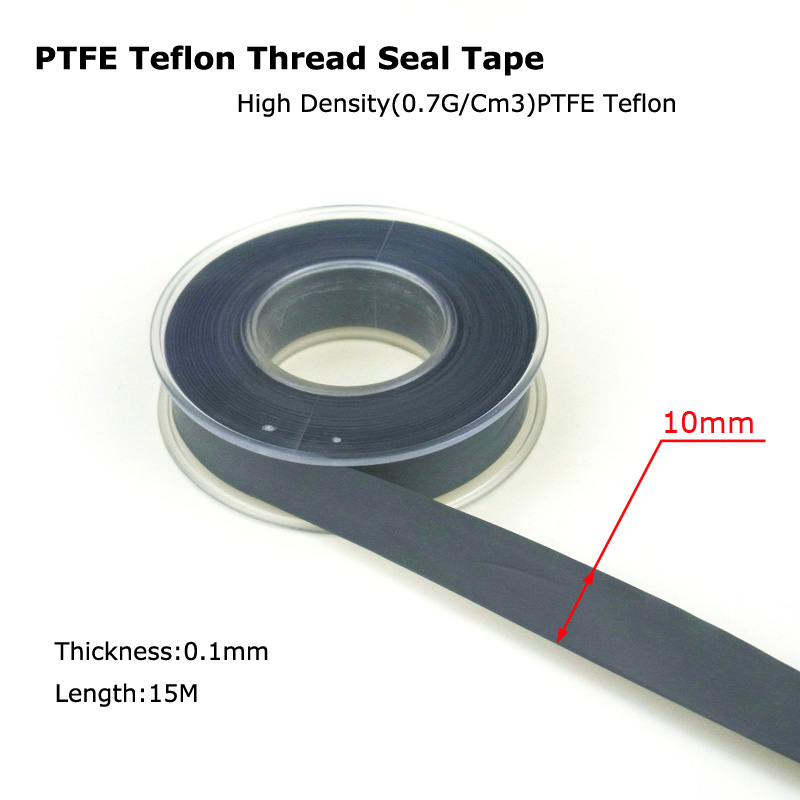 New Air Pipe PTFE Teflon Thread Seal Plumbing Tape High Density Best Quality 1 Roll 15M - BLACK