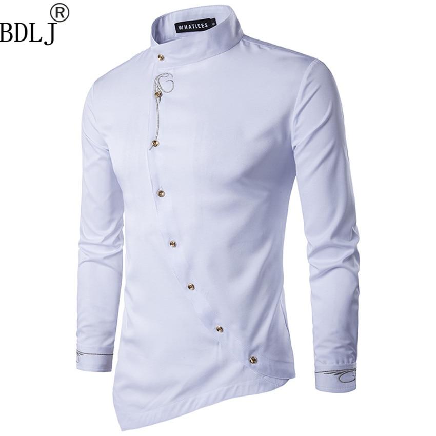 Men's Loblique Button Irregular Men Casual Shirt New Arrival Long Sleeve Casual Slim Fit Male Shirts