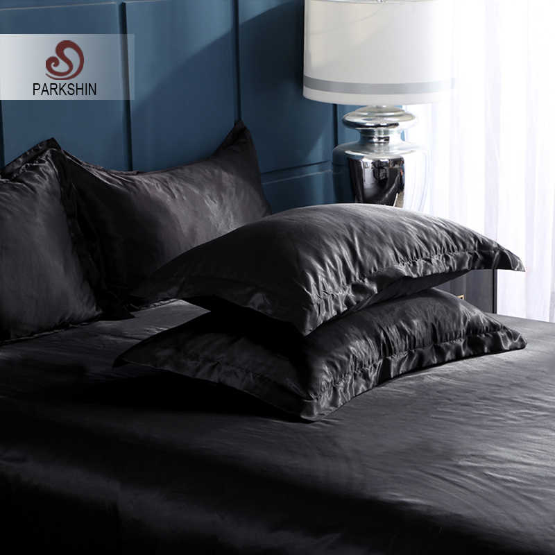 Parkshin 2019 Free Shipping 100% Satin Luxury Black Silk Pillowcase Bed Healthy Silky Cover Multicolor Pillow Case Home Textiles
