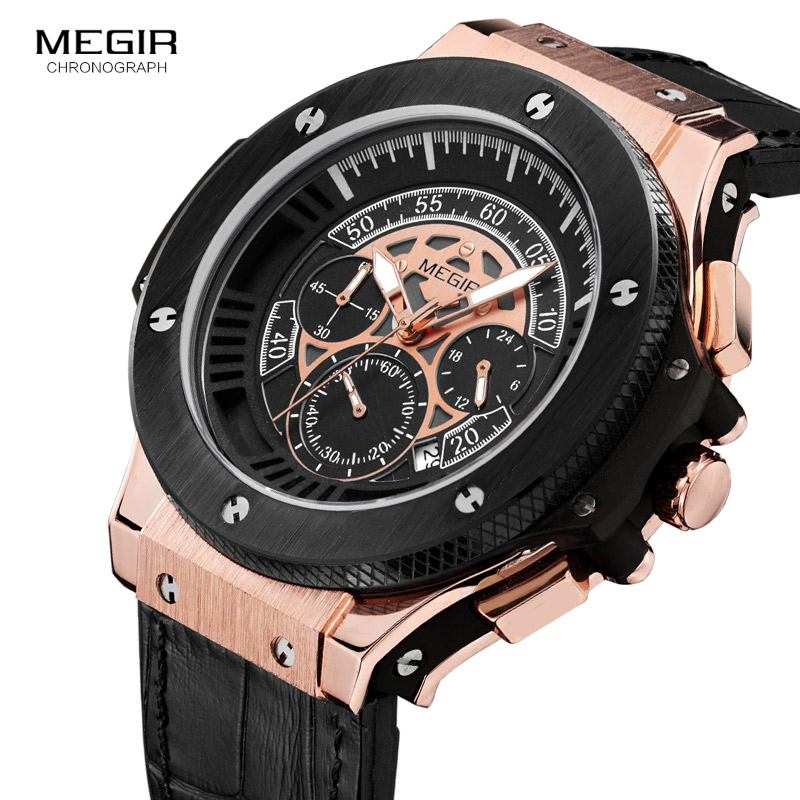 MEGIR 2017 Men Watches Luxury Brand Big Dial Quartz Wrist Watch Male Sports Army Military Watches Gold Chronograph Clock