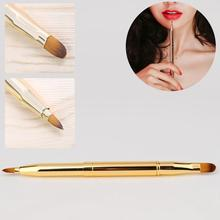 Retractable Double Head Gold Lip Brush Adjustable Portable Lipstick Gloss Pen Eyeliner Eyebrow Professional Makeup Brush amazing capped portable retractable smooth lipstick gloss lip brush make up gift random color