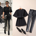 2016  women's new European American Victoria star with the temperament in the sleeves woolen women dress leather pants suit