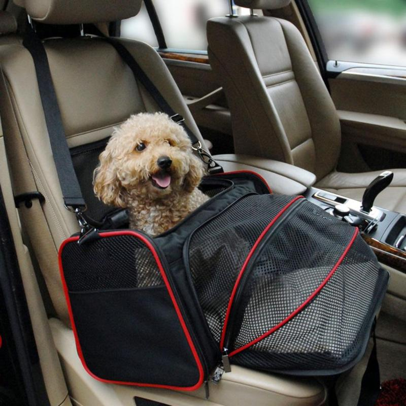 Luxurious Foldable Portable Pet Dog Car Travel Bag For Small Dogs Oxford Breathable Cat Carrier Outdoor Car Travel Accessories