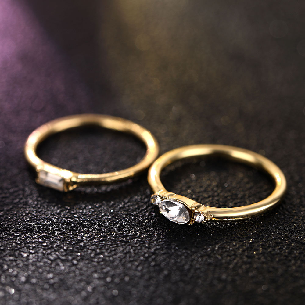 IPARAM 4 Pcs/set Crystal Zircon Gold Ring Set 19 Vintage Bohemian Women Engagement Party Ring Set Jewelry 7