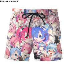 ФОТО anime zero ram rem board shorts anime swimwear quick drying swimsuits male anime beach boxer trunks shorts 3d printed jogger