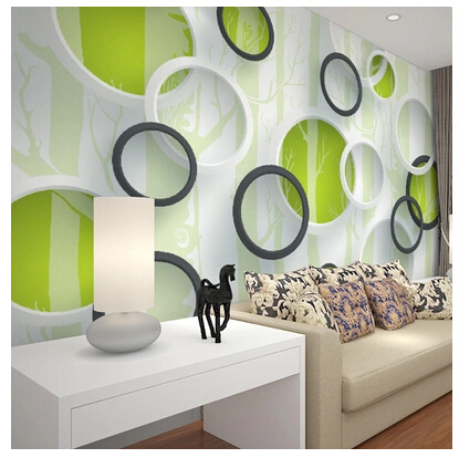 Custom Contracted Wallpaper For The Sitting Room Tv Setting Vinyl Papel De Parede Three Dimensional Circle Woods In Wallpapers From Home Improvement On