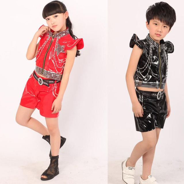 71f449e40 Black Red Bright Kids Jazz Dance Costumes tops+Pants Boys Modern Hip ...