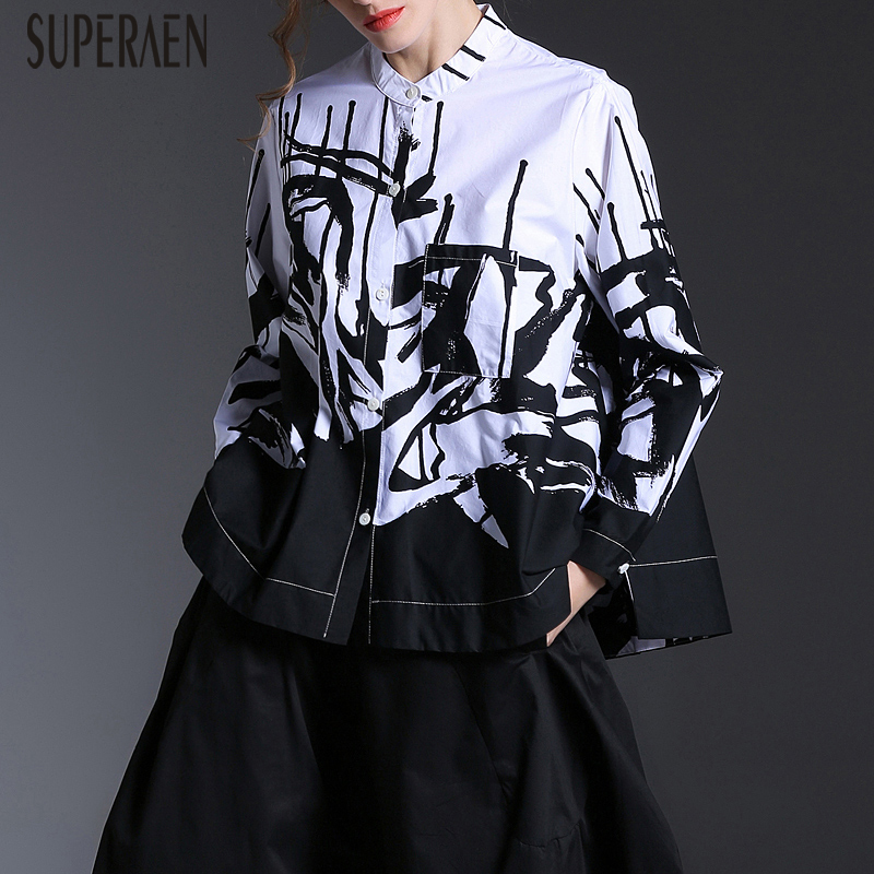 SuperAen Europe Fashion Women Shirt 2019 Spring and Autumn New Long sleeved Blouses and Tops Female